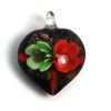 Wholesale Art Glass Pendant- Heart Shape - Green Orange  Flower -39mm