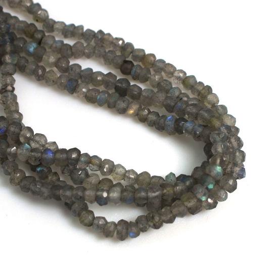 Wholesale Semi-Precious Gemstone Beads - 3.5mm Faceted Rondelle - Labradorite