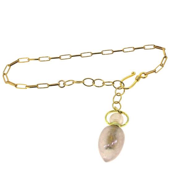 """Wholesale Gold over Sterling Silver Rose Quartz Essential Oil Bottle Bracelet -Adjustable 8"""""""