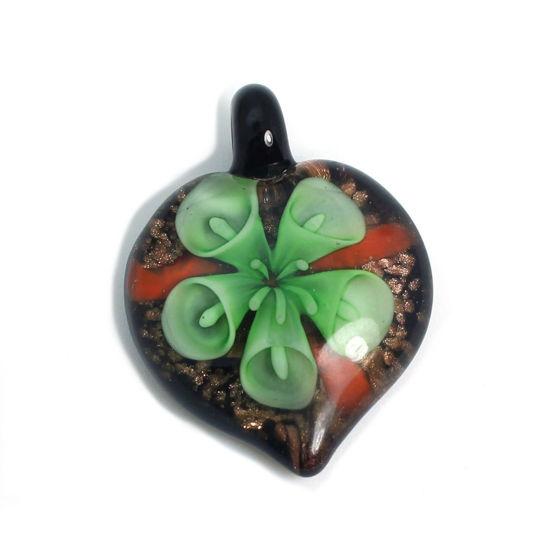 Wholesale Art Glass Pendant- Heart Shape - Green Flower -38mm