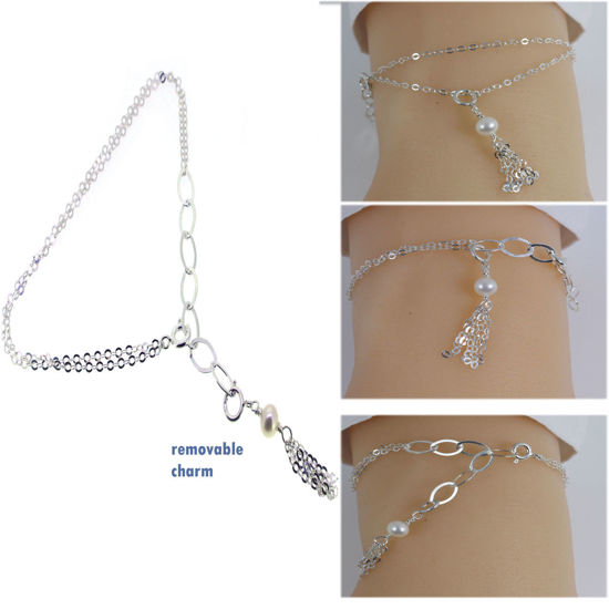 "Wholesale Sterling Silver Adjustable Bracelet with Removable Tassel Charm 8"""
