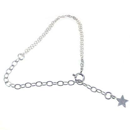 "Wholesale Sterling Silver Adjustable Bracelet with Star Charm 8"""