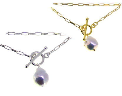 """Wholesale Sterling Silver Long Box Chain with Baroque Pearl - 18"""""""