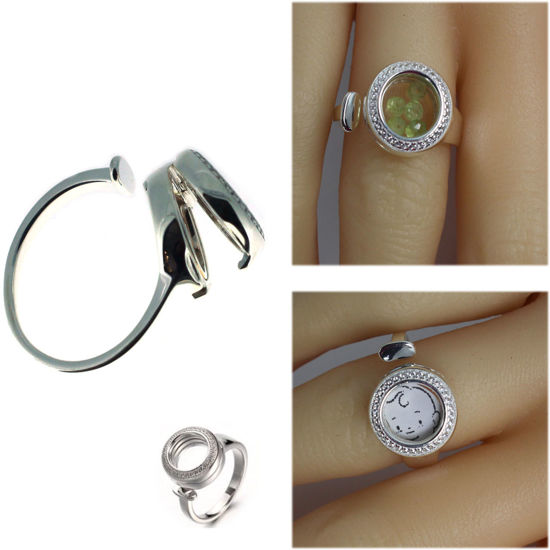 Wholesale Sterling Silver Adjustable Locket Ring (1 piece)