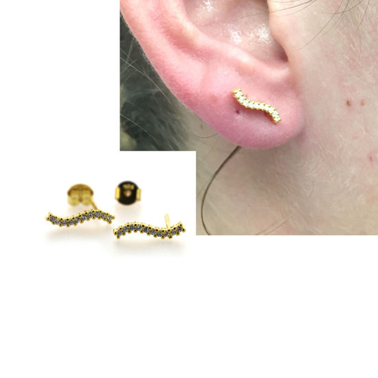 Wholesale Gold over Sterling Silver Simple Curved Bar Earring Studs With CZ  -12mm (1 pair)