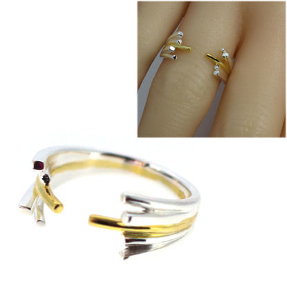 Wholesale Sterling Silver Adjustable Two Tone Spikes Ring (1 piece)