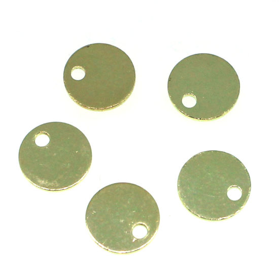 Wholesale Gold Over Sterling Silver Round Tag - 6mm (sold per 10 pcs)
