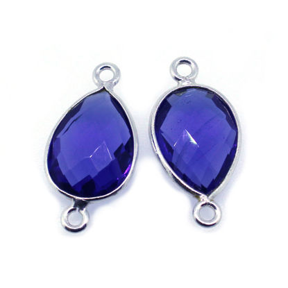 Wholesale Sterling Silver Bezel Gemstone Links - Faceted Pear Shape - Blue Iolite Quartz