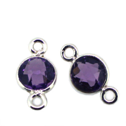 Wholesale Sterling Silver Bezel Gemstone Connectors- 6mm Faceted Coin Shape - Amethyst Quartz - February Birthstone