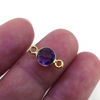Wholesale Gold over Sterling Silver Bezel Gemstone Connectors- 6mm Faceted Coin Shape - Amethyst Quartz - February Birthstone