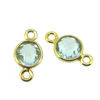 Wholesale Gold over Sterling Silver Bezel Gemstone Connectors- 6mm Faceted Coin Shape - Aqua Quartz- March Birthday