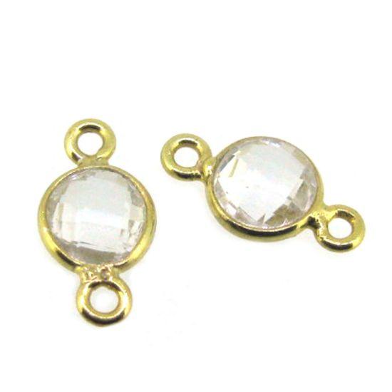 Wholesale Gold over Sterling Silver Bezel Gemstone Connectors- 6mm Faceted Coin Shape - Crystal Quartz- April Birthstone