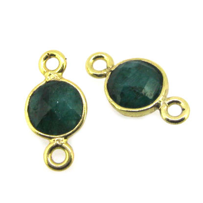 Wholesale Gold over Sterling Silver Bezel Gemstone Connectors- 6mm Faceted Coin Shape - Emerald-May Birthstone