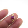 Wholesale Gold over Sterling Silver Bezel Gemstone Connectors- 6mm Faceted Coin Shape - Ruby- July Birthstone