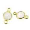 Wholesale Gold over Sterling Silver Bezel Gemstone Connectors- 6mm Faceted Coin Shape - Moonstone-June birthstone
