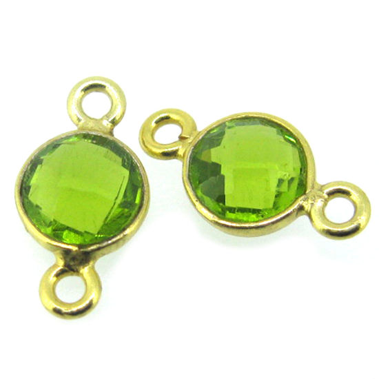 Wholesale Gold over Sterling Silver Bezel Gemstone Connectors- 6mm Faceted Coin Shape - Peridot- August birthstone