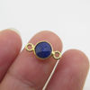 Wholesale Gold over Sterling Silver Bezel Gemstone Connectors- 6mm Faceted Coin Shape - Blue Sapphire- September birthstone