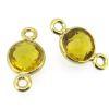 Wholesale Gold over Sterling Silver Bezel Gemstone Connectors- 6mm Faceted Coin Shape - Citrine Quartz- November Birthstone