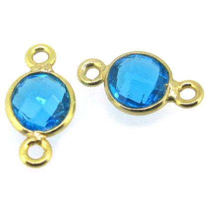 Wholesale Gold over Sterling Silver Bezel Gemstone Connectors- 6mm Faceted Coin Shape - Blue Topaz- December Birthstone