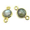 Wholesale Gold over Sterling Silver Bezel Gemstone Connectors- 6mm Faceted Coin Shape - Labradorite