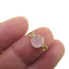 Wholesale Gold over Sterling Silver Bezel Gemstone Connectors- 6mm Faceted Coin Shape - pink chalcedony