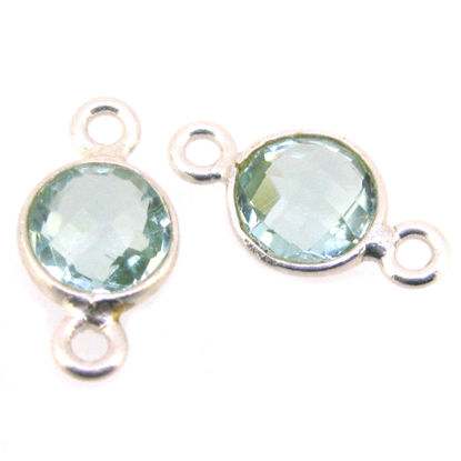 Wholesale Sterling Silver Bezel Gemstone Connectors- 6mm Faceted Coin Shape - Aqua Quartz- March Birthstone