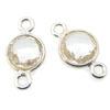 Wholesale Sterling Silver Bezel Gemstone Connectors- 6mm Faceted Coin Shape - Crystal Quartz- April Birthstone
