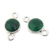 Wholesale Sterling Silver Bezel Gemstone Connectors- 6mm Faceted Coin Shape - Emerald- May Birthstone