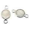 Wholesale Sterling Silver Bezel Gemstone Connectors- 6mm Faceted Coin Shape - Moonstone- June Birthstone