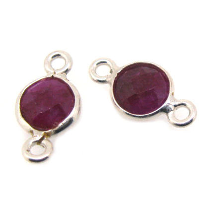 Wholesale Sterling Silver Bezel Gemstone Connectors- 6mm Faceted Coin Shape - Ruby- July Birthstone