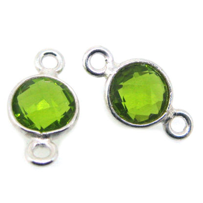 Wholesale Sterling Silver Bezel Gemstone Connectors- 6mm Faceted Coin Shape - Peridot- August Birthstone