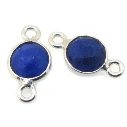Wholesale Sterling Silver Bezel Gemstone Connectors- 6mm Faceted Coin Shape - Blue Sapphire- September Birthstone
