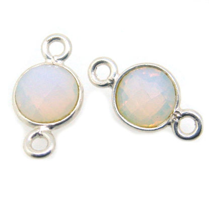 Wholesale Sterling Silver Bezel Gemstone Connectors- 6mm Faceted Coin Shape - Opalite- October Birthstone