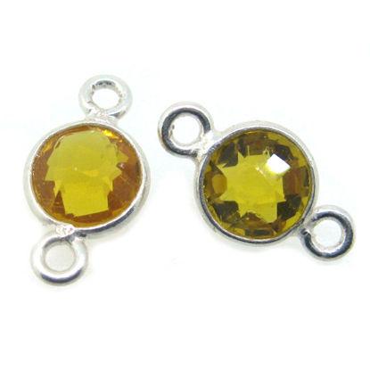 Wholesale Sterling Silver Bezel Gemstone Connectors- 6mm Faceted Coin Shape - Citrine Quartz- November Birthstone