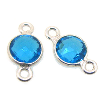 Wholesale Sterling Silver Bezel Gemstone Connectors- 6mm Faceted Coin Shape - Blue Topaz- December Birthstone