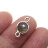 Wholesale Sterling Silver Bezel Gemstone Connectors- 6mm Faceted Coin Shape - Labradorite