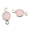 Wholesale Sterling Silver Bezel Gemstone Connectors- 6mm Faceted Coin Shape - Pink Chalcedony