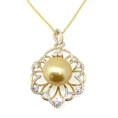 """Wholesale 14K Yellow Gold Golden South Sea Pearl Big Flower Necklace - 18"""""""