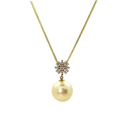 """Wholesale 14K Yellow Gold Golden South Sea Pearl Snowflake Pendant Necklace - 18"""""""