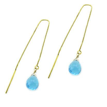 Wholesale 14K Yellow Gold Threader Earrings-Sky Blue Topaz
